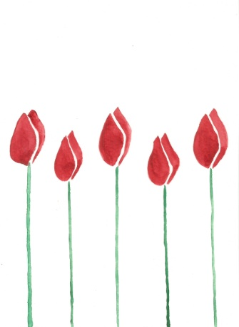 Red tulips - watercolor card